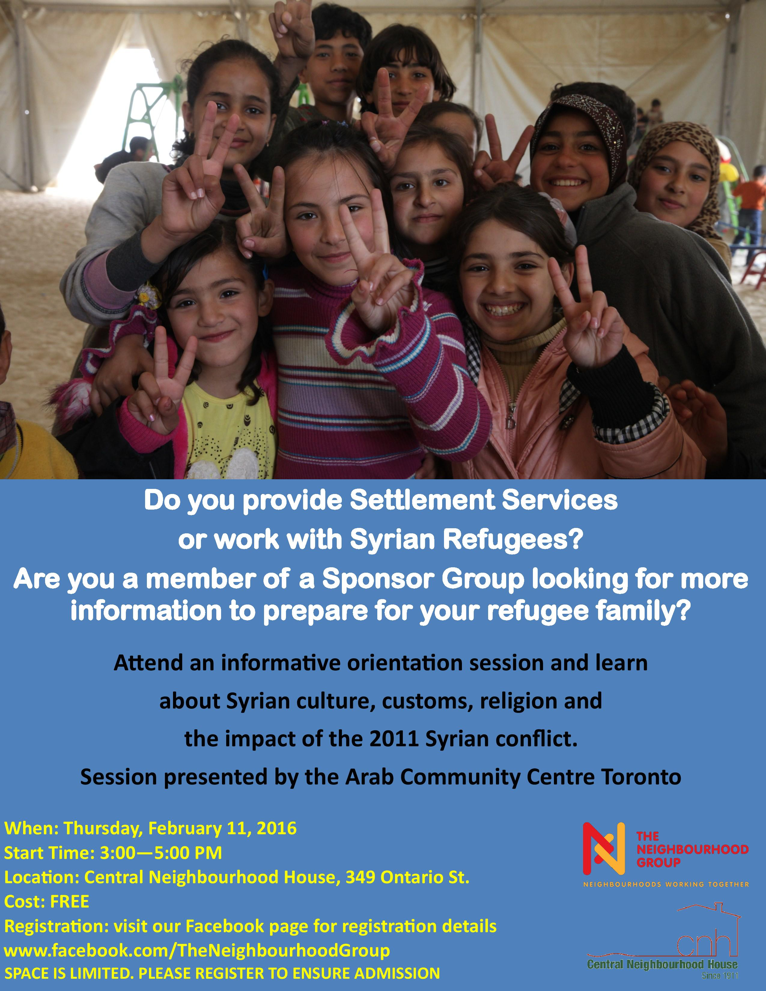 TNG Syrian Settlement Info Session Poster